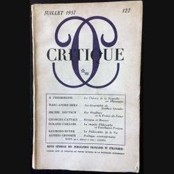 1. Critique n°122 Revue générale des publications françaises et étrangères Juillet 1957 aux éditions de Minuit