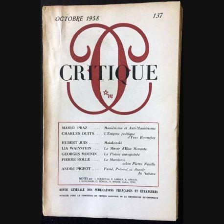 1. Critique n°137 Revue générale des publications françaises et étrangères Octobre 1958 aux éditions de Minuit