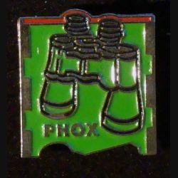 PIN'S PHOX : jumelles verte de hauteur 2 cm