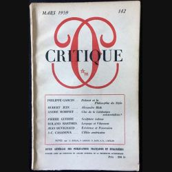 1. Critique n°142 Revue générale des publications françaises et étrangères Mars 1959 aux éditions de Minuit