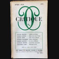 1. Critique n°143 Revue générale des publications françaises et étrangères Avril 1959 aux éditions de Minuit