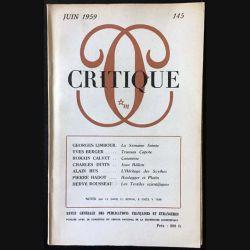 1. Critique n°145 Revue générale des publications françaises et étrangères Juin 1959 aux éditions de Minuit