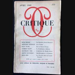 1. Critique n°155 Revue générale des publications françaises et étrangères Avril 1960 aux éditions de Minuit