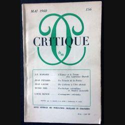 1. Critique n°156 Revue générale des publications françaises et étrangères Mai 1960 aux éditions de Minuit