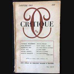 1. Critique n°164 Revue générale des publications françaises et étrangères Janvier 1961 aux éditions de Minuit