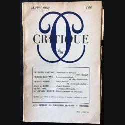 1. Critique n°166 Revue générale des publications françaises et étrangères Mars 1961 aux éditions de Minuit