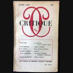 1. Critique n°167 Revue générale des publications françaises et étrangères Avril 1961 aux éditions de Minuit