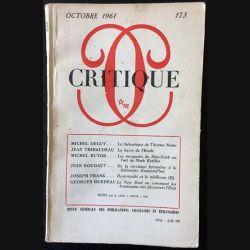 1. Critique n°173 Revue générale des publications françaises et étrangères Octobre 1961 aux éditions de Minuit