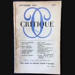 1. Critique n°174 Revue générale des publications françaises et étrangères Novembre 1961 aux éditions de Minuit (C45)