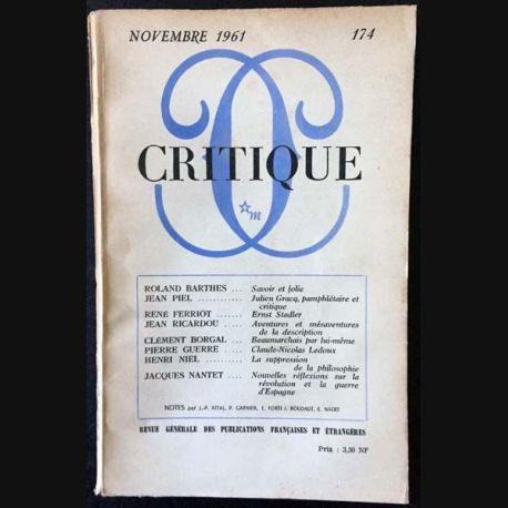 1. Critique n°174 Revue générale des publications françaises et étrangères Novembre 1961 aux éditions de Minuit