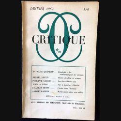 1. Critique n°176 Revue générale des publications françaises et étrangères Janvier 1962 aux éditions de Minuit