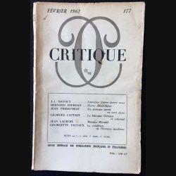 1. Critique n°177 Revue générale des publications françaises et étrangères Février 1962 aux éditions de Minuit
