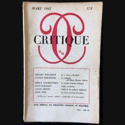 1. Critique n°178 Revue générale des publications françaises et étrangères Mars 1962 aux éditions de Minuit