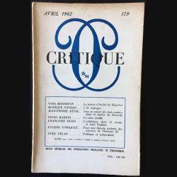 1. Critique n°179 Revue générale des publications françaises et étrangères Avril 1962 aux éditions de Minuit