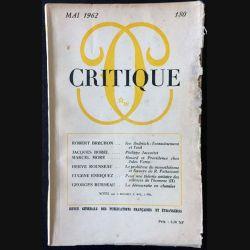 1. Critique n°180 Revue générale des publications françaises et étrangères Mai 1962 aux éditions de Minuit