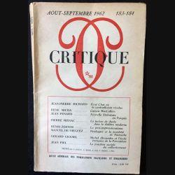 1. Critique n°183-184 Revue générale des publications françaises et étrangères Aout-Septembre 1962