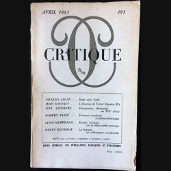 1. Critique n°191 Revue générale des publications françaises et étrangères Avril 1963 aux éditions de Minuit