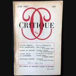 1. Critique n°193 Revue générale des publications françaises et étrangères Juin 1963 aux éditions de Minuit