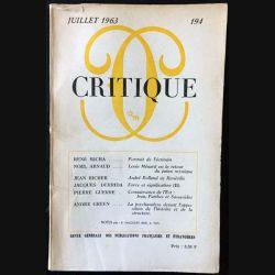 1. Critique n°194 Revue générale des publications françaises et étrangères Juillet 1963 aux éditions de Minuit