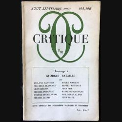 1. Critique n°195-196 Revue générale des publications françaises et étrangères Aout-Septembre 1963