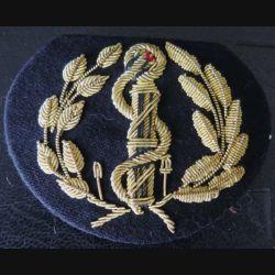 SANTE : insigne de casquette d'officier du service de santé en cannetille de largeur 7,5 cm