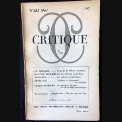 1. Critique n°202 Revue générale des publications françaises et étrangères Mars 1964 aux éditions de Minuit