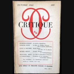 1. Critique n°209 Revue générale des publications françaises et étrangères Octobre 1964 aux éditions de Minuit