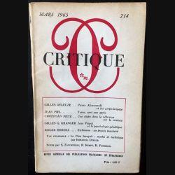1. Critique n°214 Revue générale des publications françaises et étrangères Mars 1965 aux éditions de Minuit