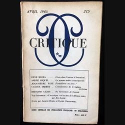 1. Critique n°215 Revue générale des publications françaises et étrangères Avril 1965 aux éditions de Minuit