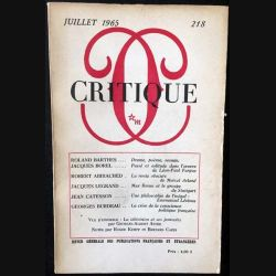 1. Critique n°218 Revue générale des publications françaises et étrangères Juillet 1965 aux éditions de Minuit