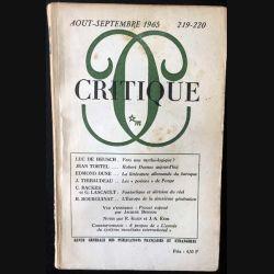 1. Critique n°219-220 Revue générale des publications françaises et étrangères Aout-Septembre 1965
