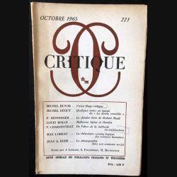 1. Critique n°221 Revue générale des publications françaises et étrangères Octobre 1965 aux éditions de Minuit (C48)