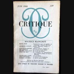 1. Critique n°229 Revue générale des publications françaises et étrangères Juin 1966 aux éditions de Minuit