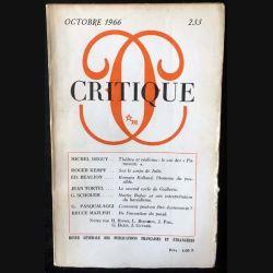 1. Critique n°233 Revue générale des publications françaises et étrangères Octobre 1966 aux éditions de Minuit