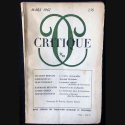 1. Critique n°238 Revue générale des publications françaises et étrangères Mars 1967 aux éditions de Minuit