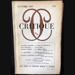 1. Critique n°245 Revue générale des publications françaises et étrangères Octobre 1967 aux éditions de Minuit