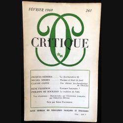 1. Critique n°261 Revue générale des publications françaises et étrangères Février 1969 aux éditions de Minuit