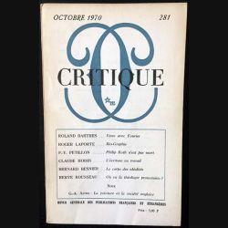 1. Critique n°281 Revue générale des publications françaises et étrangères Octobre 1970 aux éditions de Minuit