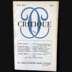 1. Critique n°288 Revue générale des publications françaises et étrangères Mai 1971 aux éditions de Minuit
