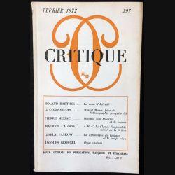1. Critique n°297 Revue générale des publications françaises et étrangères Février 1972 aux éditions de Minuit