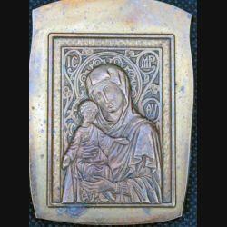 MEDAILLE : matrice de la médaille de la vierge et de l'enfant en bronze épais de dimension 6,8 cm par 4,7 cm