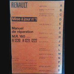 1. Renault mise à jour n°1 Juillet 1972 - Manuel de réparation M.R. 160 R 1220, R 1221, 1222
