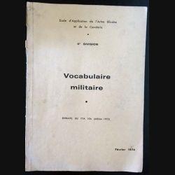 1. Vocabulaire militaire - Extraits du TTA 106 école d'application de l'armé blindée et de la cavalerie Février 1974