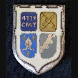 411° CMT : insigne métallique du 411° compagnie du matériel du territoire de fabrication Drago Paris G. 2374