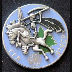 9° RCP : insigne métallique de la Compagnie d'Eclairage et d'appui du 9° régiment de chasseurs parachutistes FINUL au Liban de fabrication Delsart