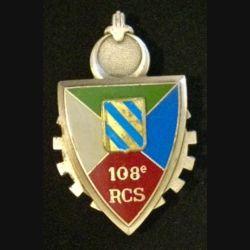 108°RCS : insigne métallique du 108° régiment de commandement et des services de fabrication Delsart 3004