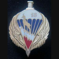 18° RCP : insigne métallique du 18° régiment de chasseurs parachutistes de fabrication Drago Paris (retirage R 83 modèle plein)