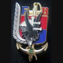 3° RPIMA FIB : insigne métallique du 3° régiment parachutiste d'infanterie de marine FIB Beyrouth de fabrication Delsart numéroté 1686