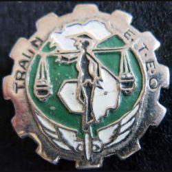 TFTEO : Insigne métallique du Train des Forces Terrestres d'Extrême Orient fabrication arisanale peint vert et blanc