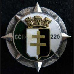 220° CCR : Insigne métallique de la 220° compagnie de circulation routière de fabrication Drago Paris en émail